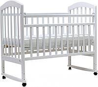 Кровать детская Топотушки Лира-2 (белый), береза, колесо-качалка