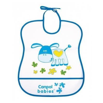 Нагрудник пластиковый мягкий 2/919 синий, ослик Canpol