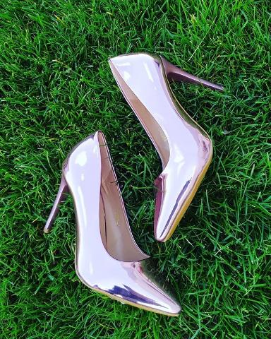 Женские туфли лакированные серебристые 36-40 размер