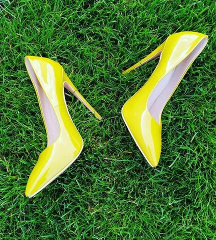 Женские туфли лакированные желтые 34-38 размер