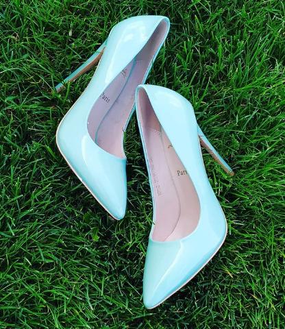 Женские туфли лакированные голубые 35-39 размер