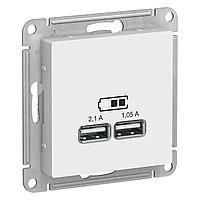 ATN000133 ATLASDESIGN USB РОЗЕТКА, 5В, 1 порт x 2,1 А, 2 порта х 1,05 А, механизм, БЕЛЫЙ