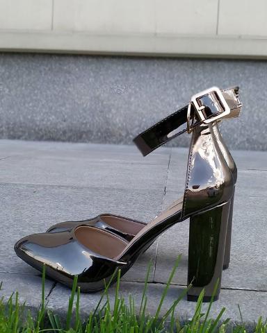 Женские туфли лакированные темно-серые 36-40 размер