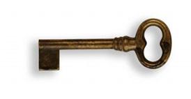 Ключ п/нестанд. замок, *Regency* 28х66мм, L=34 мм, тип L, латунь пат.