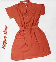 Платье летнее коричневое с карманами