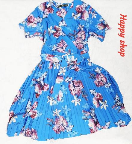 Платье летнее голубое с плессированной юбкой