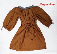 Платье летнее коричневое с открыми плечами
