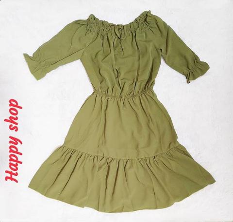 Платье хаки с открытыми плечами размер 42-48