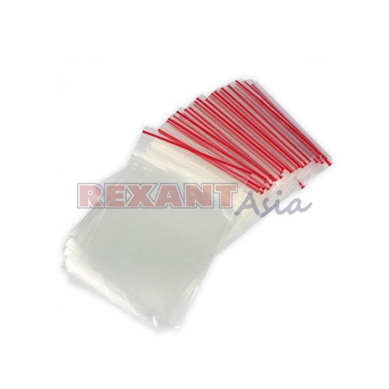 Пакеты с замком Zip Lock, 12х17 см, 35 мкм (уп. 100 шт), грипперы ( 009-7012-2 ) Rexanta