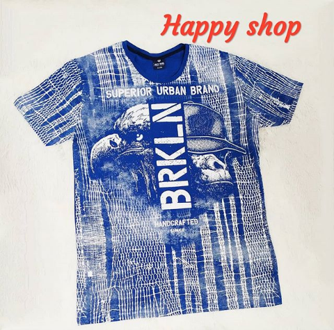 Мужская синяя футболка с принтом