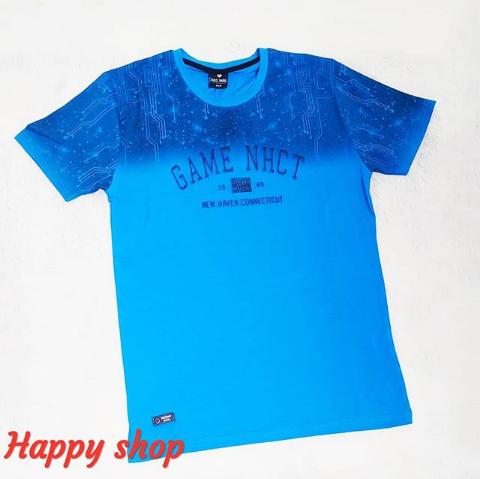 Мужская голубая футболка с надписью
