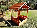 Детская деревянная песочница с крышей, фото 4