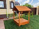Детская деревянная песочница с крышей, фото 6