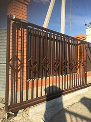 Покраска ворот грунт эмаль 3 в 1 коричневая 2