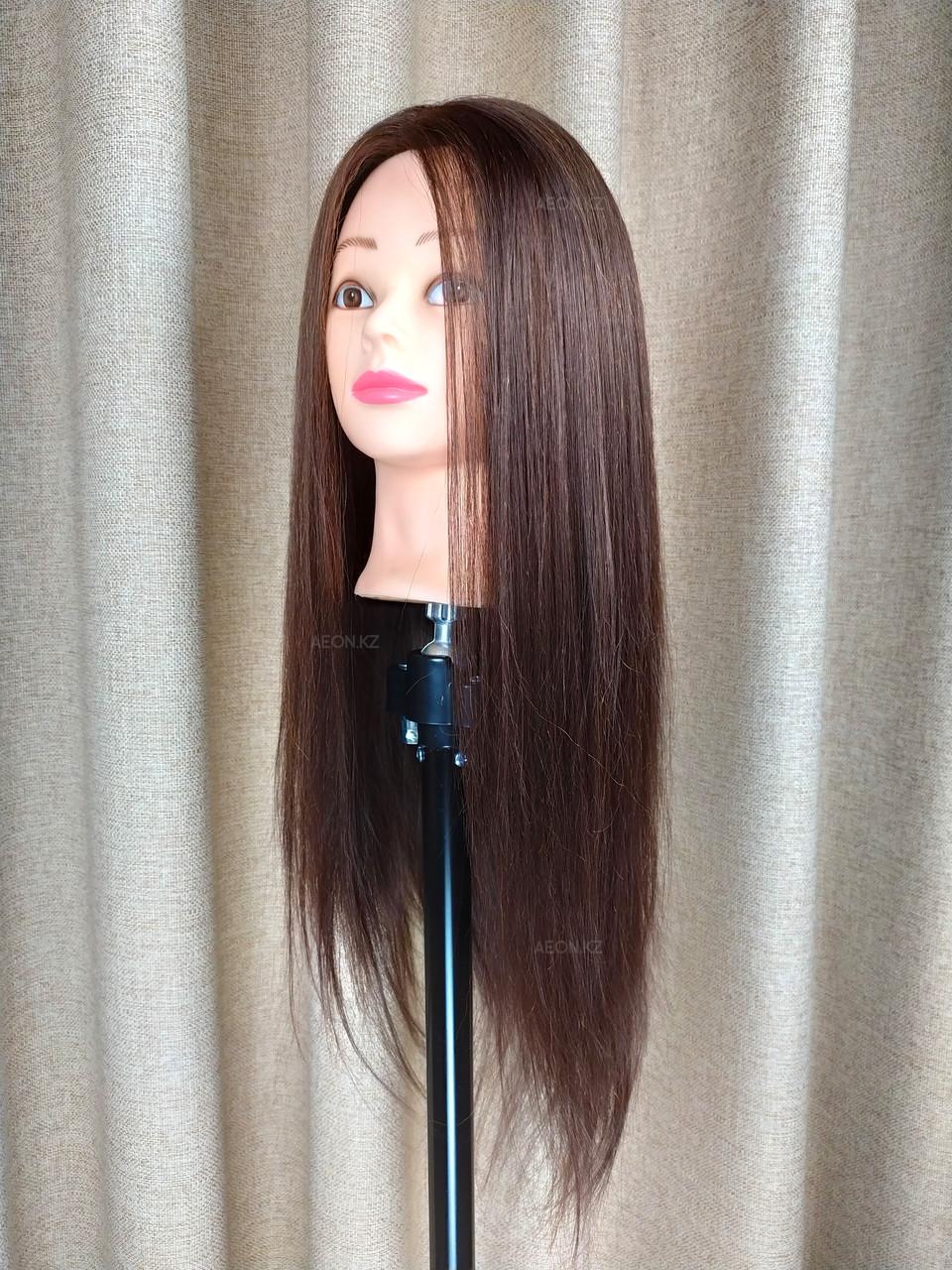 Голова-манекен каштан волос натуральный (60%) - 60 см