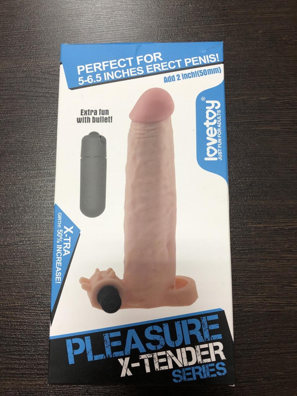 """Насадка-удлинитель пениса +5.0 см, с вибрацией """"PLEASURE X-TENDER SERIES"""", LOVETOY, цвет телесный"""