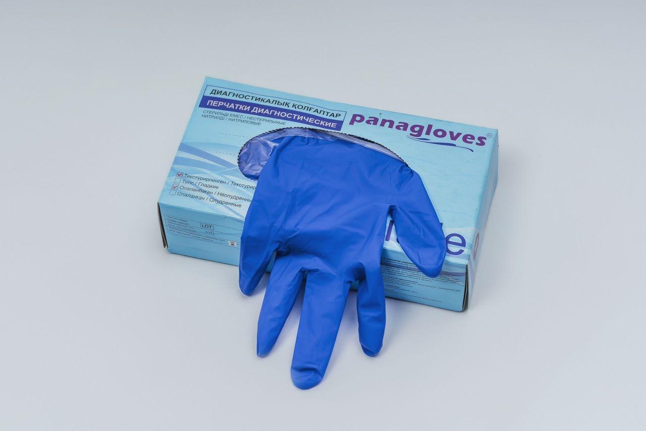 """Перчатки текстурированные нитриловые """"Panagloves"""" 50 пар размер L(8-9) - фото 1"""