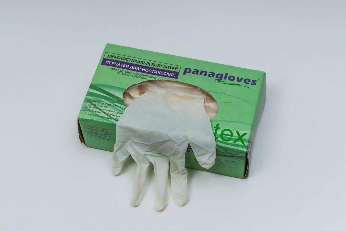 """Перчатки текстурированные латексные """"Panagloves"""" 50 пар размер M(7-8) - фото 1"""