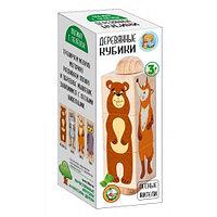 Кубики деревянные на оси «Лесные жители» (3 кубика)