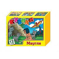 Кубики-картинки пластмассовые «Маугли», 12 штук, фото 1