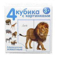 Пластмассовые кубики с картинками «Африканские животные», 4 штуки