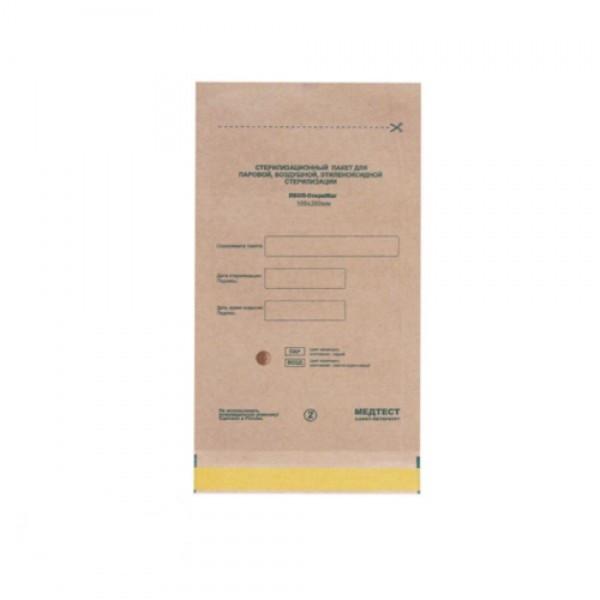 Пакеты из крафт-бумаги самокл.для паровой, воздушной, этиленоксидной стерилизации 100*200мм (100шт)