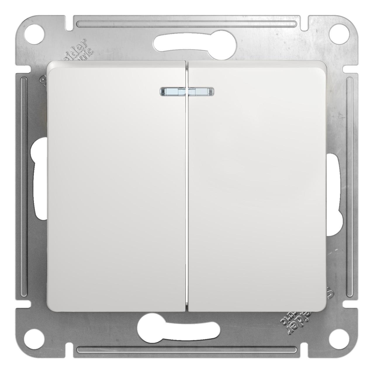 GSL000153 Glossa - 1-полюсн. 2-клавиш.выкл. с ламп. - механизм - 10 AX - белый