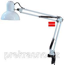 Лампа настольная на струбцине белая