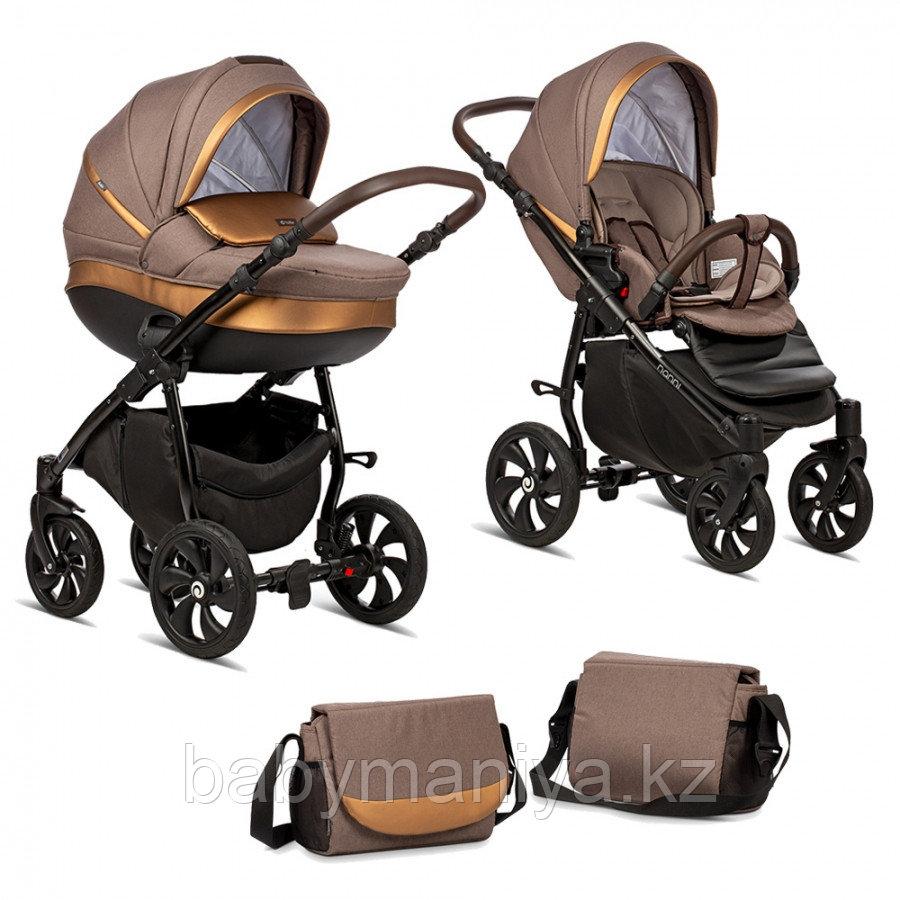 Коляска детская 2 в 1 Tutis Nanni короб+прогулка Кофе+Кожа Бронза/Чёрная рама/Гелевые колес