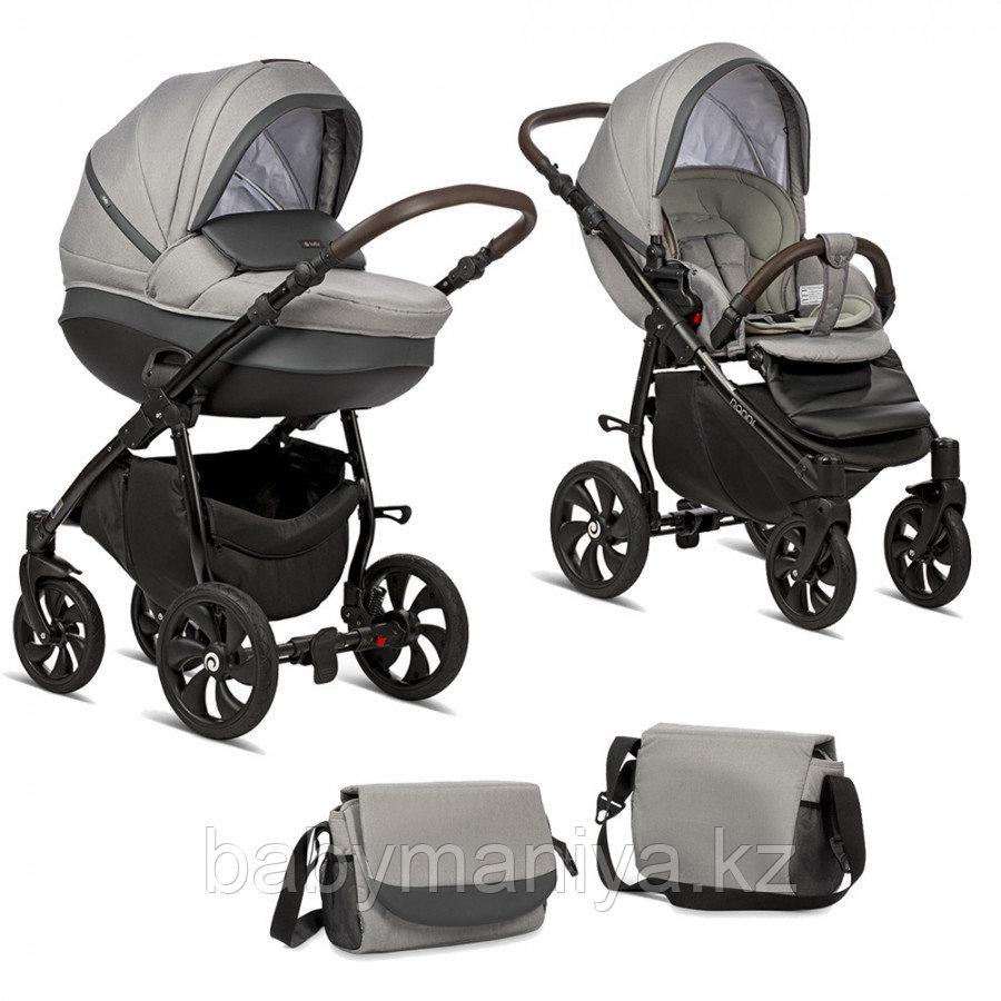 Коляска детская 2 в 1 Tutis Nanni короб+прогулка Серый+Кожа Тем.Серый/Черная рама/Гелевые колеса