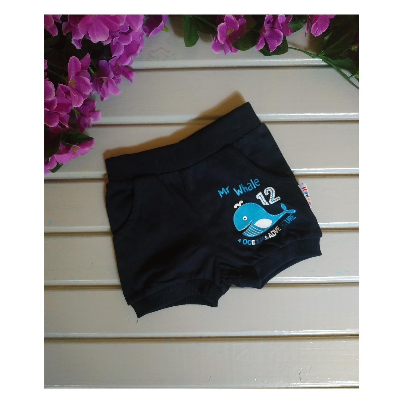 Шорты для мальчика, цвет темно-синий, с китом