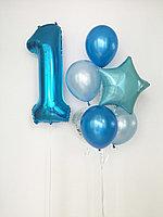 Цифра 1 фольга + букет из 7 шаров