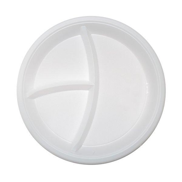 Тарелка d 205мм, 3-секц., бел., ПП, 2000 шт