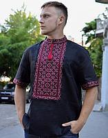 Вышиванка мужская Віктор лён чёрный