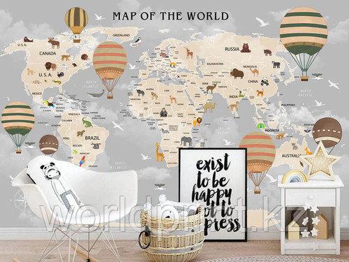 """Печать фотообоев """"Карта мира"""" в детскую комнату"""