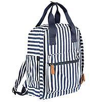 Сумка-рюкзак для мамы в полоску син/бел, Chicco