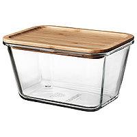 Контейнер для продуктов с крышкой ИКЕА/365+ стекло бамбук1.8 л ИКЕА, IKEA, фото 1