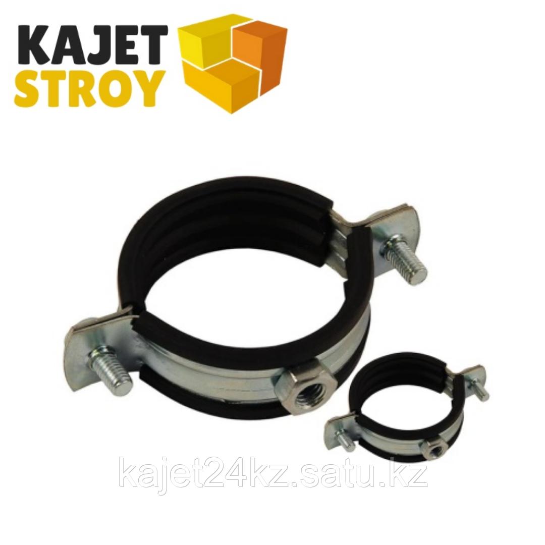 Хомут сантех. метал-й с резиновой прокладкой 2 М8 (59-64) в комплекте (100)