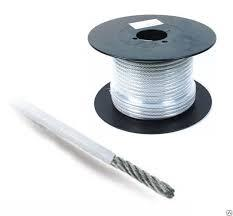 Трос стальной оцинкованный DIN 3055 c оплеткой ПВХ 6 мм.(100 м.)