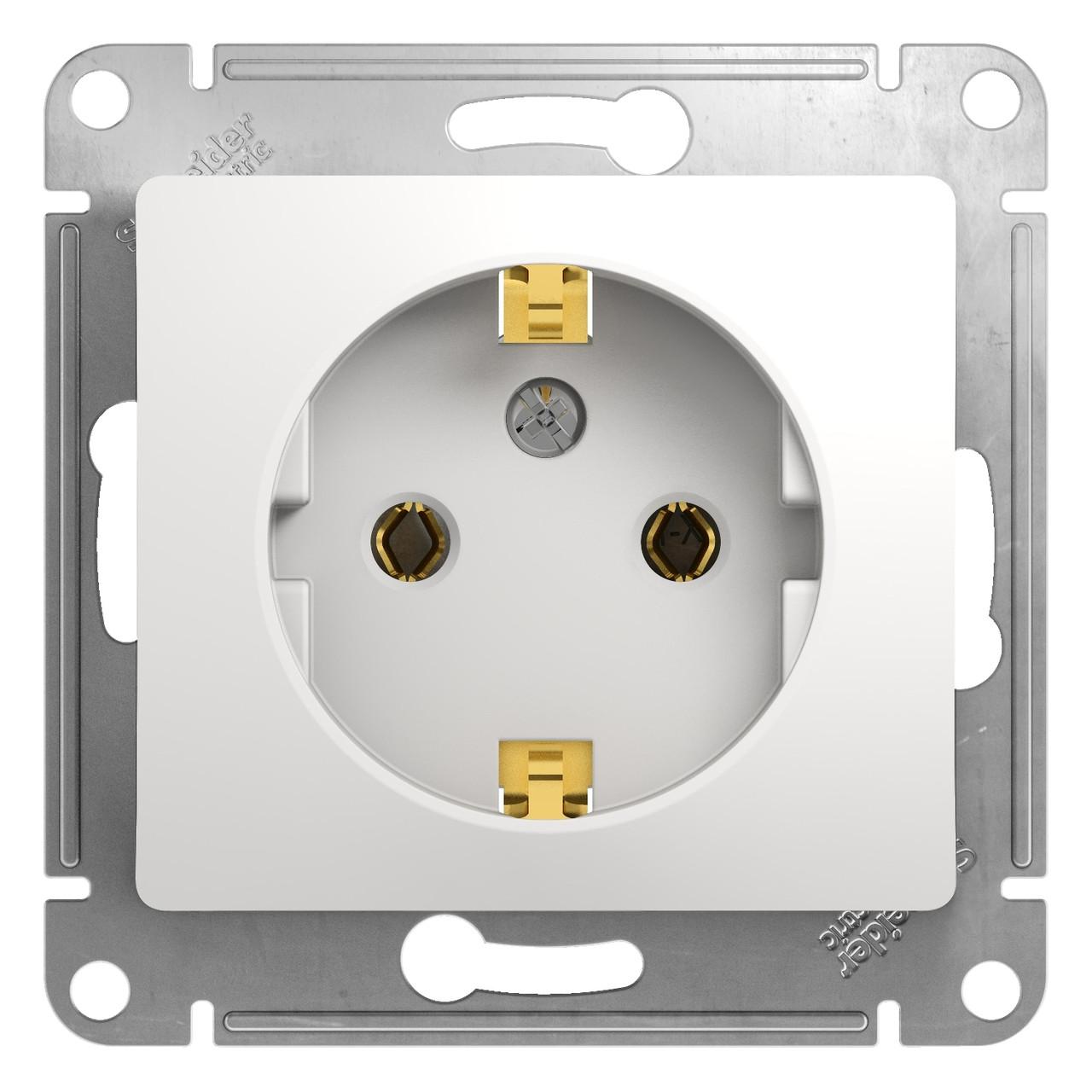 GSL000143 Glossa - одна розетка - боковой выход заземления - 2P + E - 16 A - белый