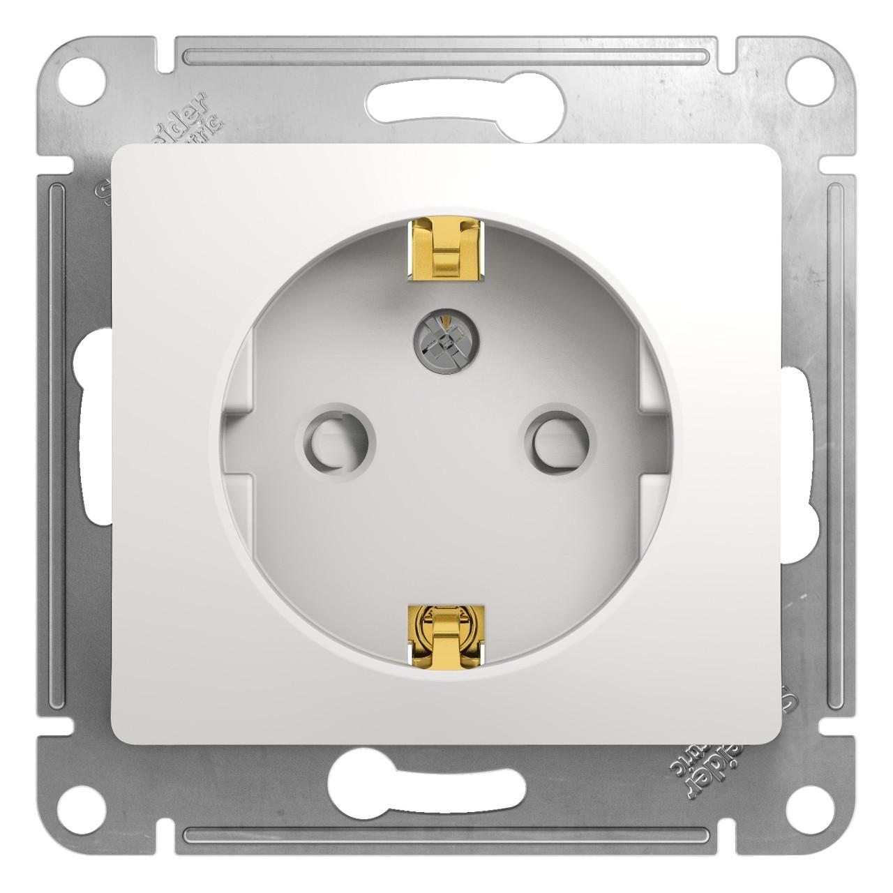GSL000145 Glossa - одна розетка - бок.вых.заземл - 2P + E со шторками - 16 A - белый