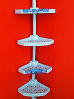 Угловая полка, пластиковая трубка, 4 полки 25*25см, 2 крючка, 2 мыльницы (прозрачно-голубые) (N07), фото 1