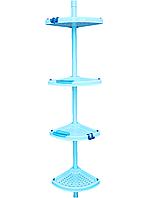 Угловая полка, 4-х ярусная, телескопич. стальная трубка, полки 24,5*24,5см (N01), фото 1