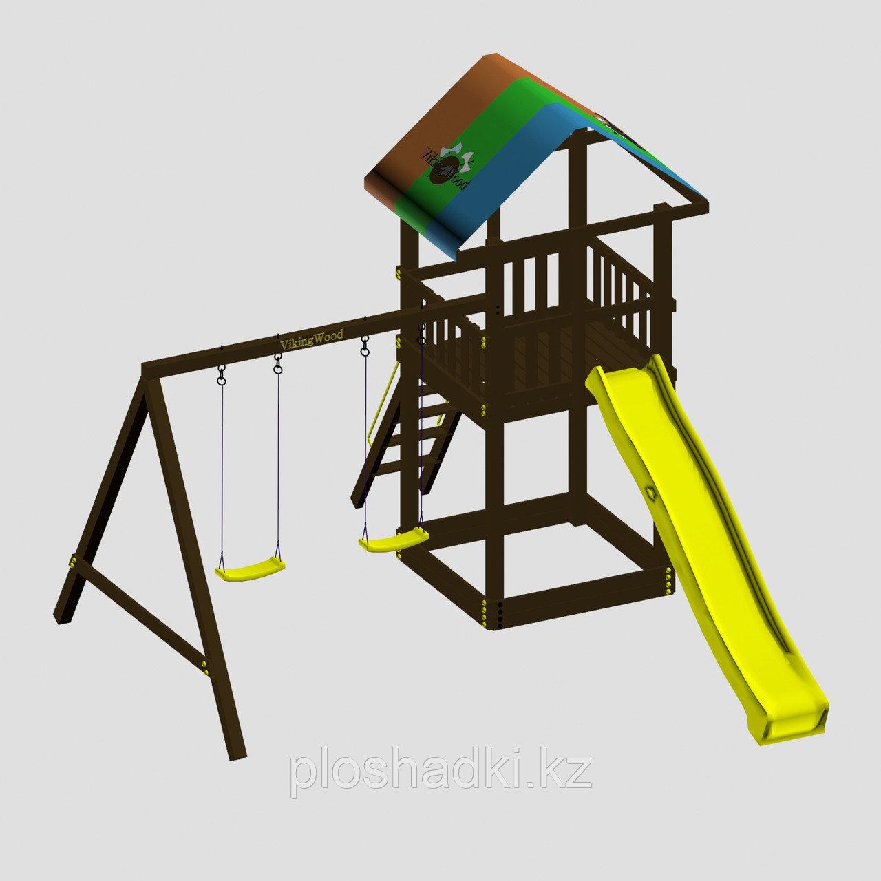 """Игровой комплекс """"Смайл"""", цветная крыша, лестница 2 качели, горка-скат разных цветов"""