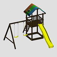 """Игровой комплекс """"Смайл"""", цветная крыша, лестница 2 качели, горка-скат разных цветов, фото 1"""