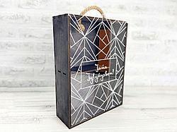 Декоративный деревянный ящик. Размер: 34.5 см*26 см*9 см