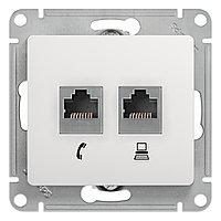 GSL000185 Glossa - компьютерная/телефоннная розетка - RJ11 + RJ45 cat.5e UTP - белый