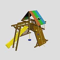"""Детская площадка """"Самсон"""", качели, штурвал, цветная крыша, лестница,качели, горка, гимнастические кольца, фото 1"""