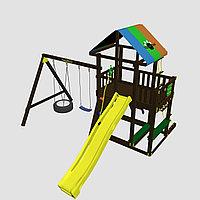 """Детская площадка """"Сиело с шиной"""", цветная крыша, канатная сетка, лестница из дерева, горка, фото 1"""