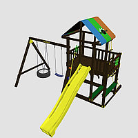 """Детская площадка """"Сиело с шиной"""", цветная крыша, канатная сетка, лестница из дерева, горка"""